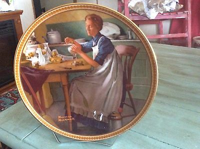 """Norman Rockwell Plates; """"Working in the Kitchen""""."""