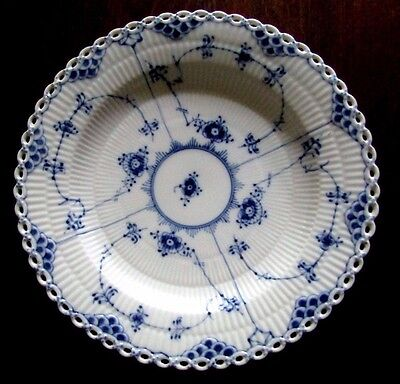 "Royal Copenhagen 9 7/8""  Dinner Plate Blue Fluted Lace, 1084"