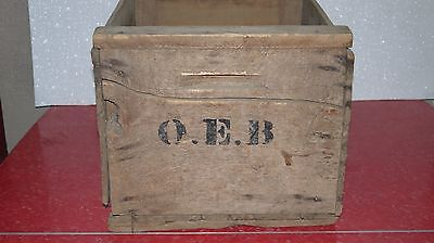 Vintage Wooden Wood Box Crate O.E.B. Initials Rustic Office Kitchen Decor Books