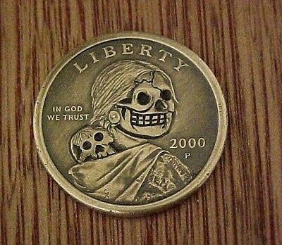 Sacagawea Golden Dollar SKULL Hand Carved Hobo Nickel coin ohns 1304