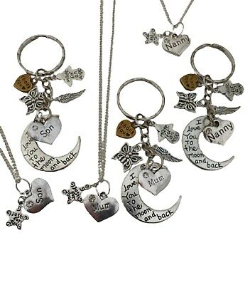 925 STERLING SILVER NECKLACE & KEYRING SET Just For You Star Charm Birthday Gift