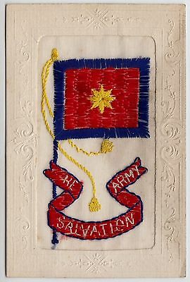 POSTCARD - RARE Salvation Army embroidered silk, red blue & gold flag/standard