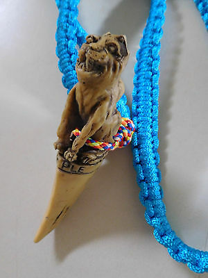 TIGER TEMPLE CANINE TIGER Asian AMULET Talisman on Braid Necklace / Rope RARE