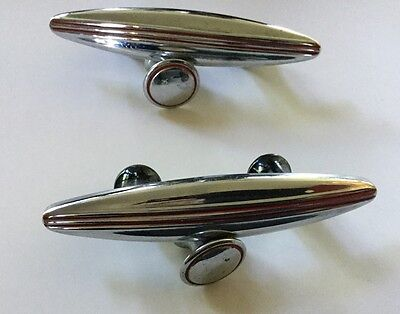 SET OF TWO ART DECO BULLET STYLE CHROME w/ RED STRIPE DOOR HANDLES and TWO KNOBS
