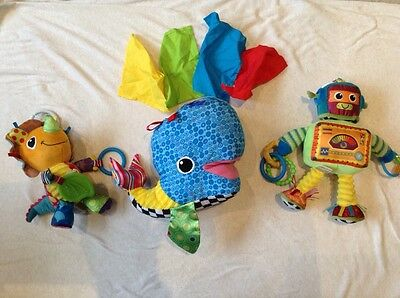 Lamaze Bundle Of Soft / Sensory/ Activity/ Pram Baby Toys - 3 Toy Bundle.