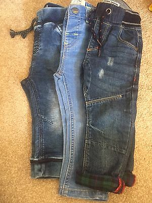 3 Pairs Of Next Boys Jeans, 12-18 Months