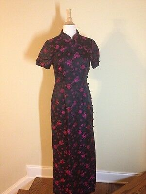 Oriental Style Long Dress Evening Gown Black Hot Pink Silk Size 6