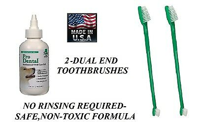 Pet Oral Care Dental GEL TOOTHPASTE & 2-TOOTHBRUSH Reduce Plaque/Tartar,Odor Dog