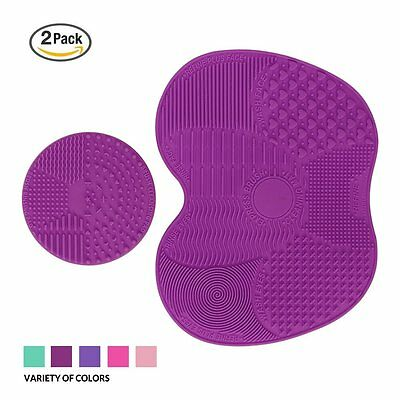 ESARORA Makeup Brush Cleaner Pad Set of 2 Cleaning Mat (Light Purple)