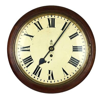 -Gpo- Original 1926 General Post Office Mahogany Shop Station Fusee Wall Clock