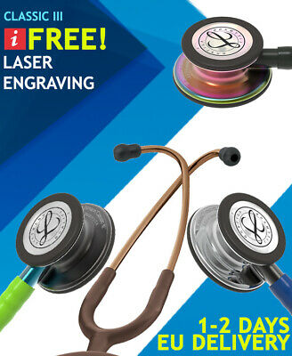 3M Littmann Classic III Stethoscope FREE Laser Engraving All Colours Available!