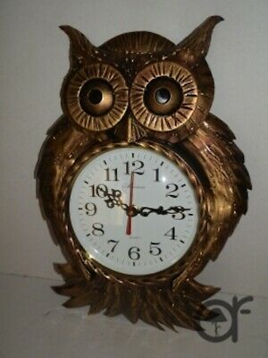 Wall clock owl wrought iron GOLD quartz movement