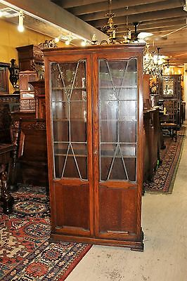 Beautiful English Antique Oak Tall Bookcase / Display Cabinet.