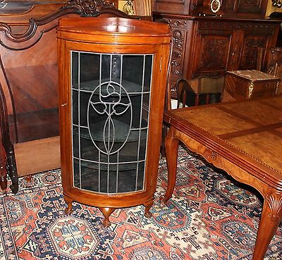 Beautiful English Solid Mahogany Leaded Glass Door Ball & Claw Corner Cabinet.