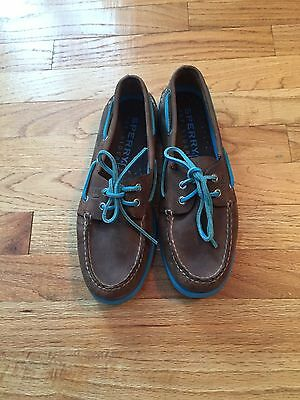 Mens Brown Sperry Top Sider Leather Boat Shoes Size 9 M