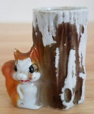 Vintage Collectible Toothpick Holder - Ceramic - Squirrel and Tree Stump