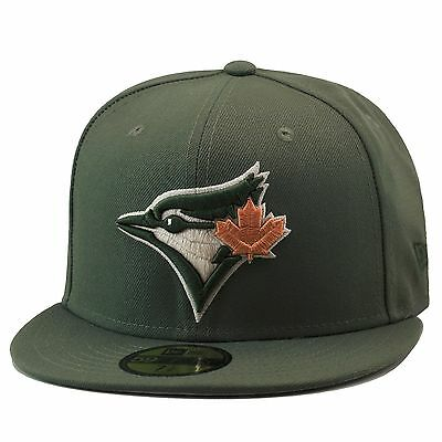 1030b72caa7 New Era Toronto Blue Jays Fitted Hat Olive Green Tan Leaf For timberland