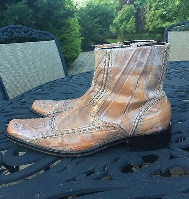 Aldo Western Genuine Leather Embroidered Ankle Zip Men's Boots..Euro 42..US..9-M