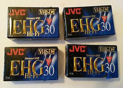 4 JVC Compact VHS C blank tapes 90 30 camcorder TC30EHG PROHF PRO EHG NEW SEALED