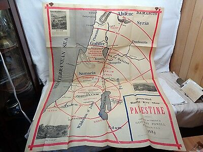 "Large Antique Original 1887 Palestine Map Size: 35 1/2"" w X 48"" h"