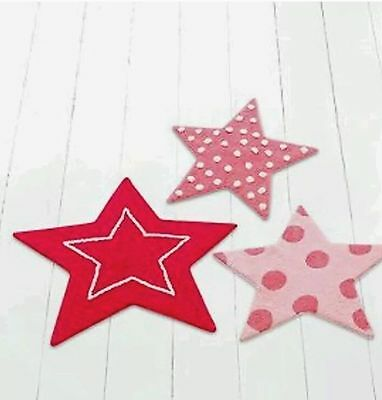 KIDS GIRLS 3 X Pink Star Shape Bedroom Rugs Nursery Toddler Bedroom Playroom Mat