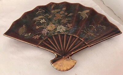 Collectible Porcelain Hand Painted Japanese Fan Signed Vintage Decorative