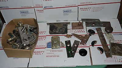 LOT OF VINTAGE DOOR LATCH, LOCKS MISC PARTS Knobs