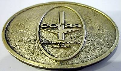 Vintage 1970's ~ CORSA Corvair Society Of America ~ Brass Belt Buckle !!
