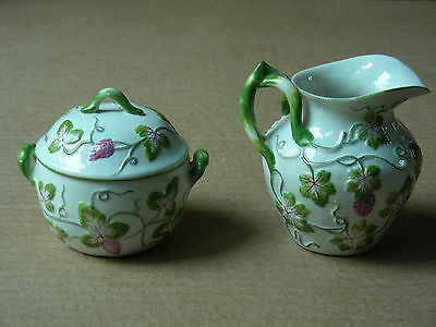 Vintage Matching (Floral Relief) Ceramic Creamer And Sugar Bowl With Lid Italy
