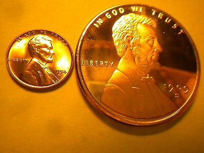 1909S Vdb Lg Lincoln Wheat Penny Cent Bu 1Oz. Copper Bullion Round Bonus 1954D