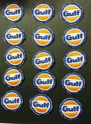 Lot of 15 Vtg Gulf Gas/Oil Sew on Cheesecloth UniformSmall Patches Made in USA