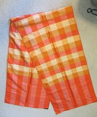 "Vintage Hand Woven 100% Silk Scarf Orange Square Pattern 18"" x 80"" Long"