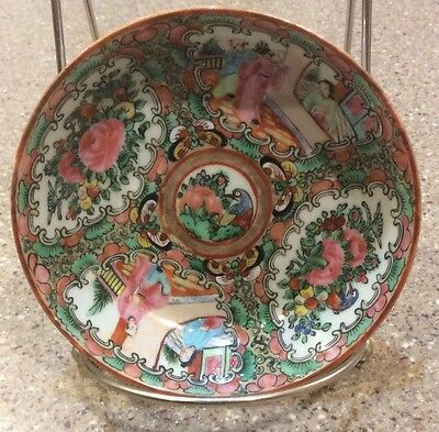 Antique Chinese Porcelain Rose Medallion Berry Bowl 19th Century 4 3/4""