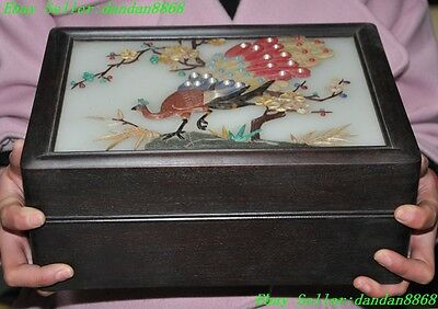 Rare Rosewood wood inlay shell Pearls Old jade shoushan stone peacock flower box