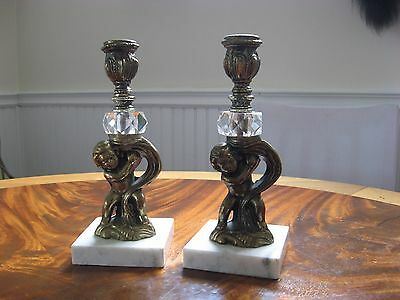 Antique Marble & Brass Cherub/Putti Candle Holders, Pair