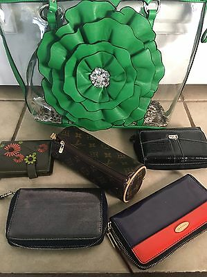 Lot Of 6 Women Wallets And  Large Clear Tote Bag Handbags Lot