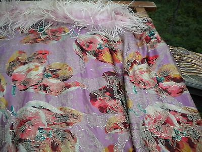 Beautiful Antique Art Deco Piano Shawl Silk with Fringe & Feather Boa EXCELLENT!