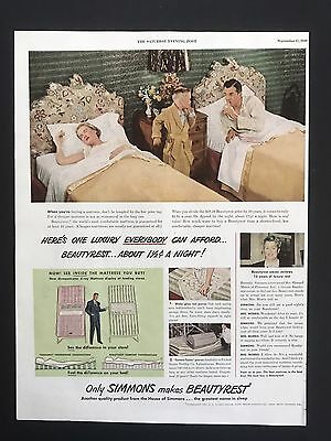 1949 Vintage Print Ad SIMMONS BEAUTYREST Mattress Bed Woman Sleeping