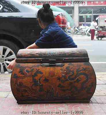 """26"""" Antique chinese lacquerware wood dragon statue Cabinet Chest Box Container A"""