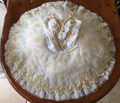 Detailed White and Gold Professional Quality Ballet Tutu