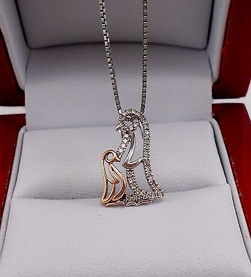 "925 Sterling Silver & 10K Yellow Gold Diamond Penguin 18"" Necklace"