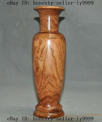 """10""""A Old chinese huanghuali wood Hand-Carved Zun Cup Bottle Pot Vase Jar statue"""