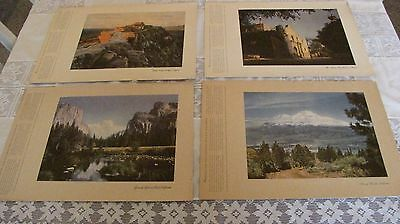 4 Vintage Chevron Standard Oil Prints ALAMO Yosemite Walpi Indian Shasta scenic