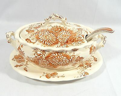 Antique Keeling & Co. Late Mayers DAISY Sauce Boat Tray Ladle Tureen Dish c 1890