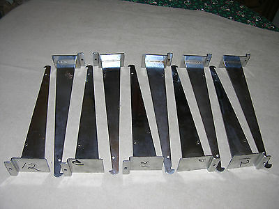 "12"" Chrome Slatwall Shelf Brackets Used Lot of 10"
