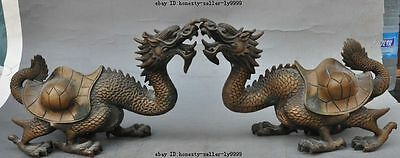 old china chinese bronze fengshui dragon turtle tortoise beast lucky statue pair