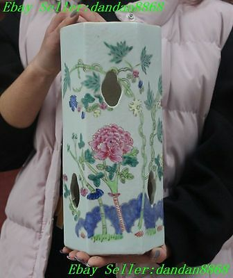 Old Chinese Wucai porcelain rich Peony flower statue Hollow Zun cup bottle vase