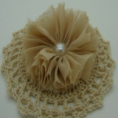 Latte Chiffon Flower with Pearl Centre x 1 RNB