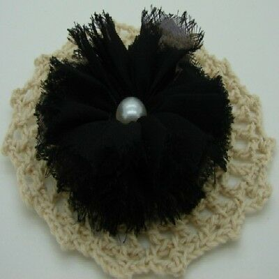 Black Chiffon Flower with Pearl Centre x 1 RNB
