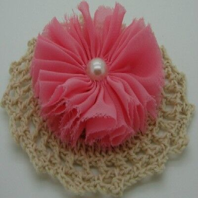 Coral Chiffon Flower with Pearl Centre x 1 RNB